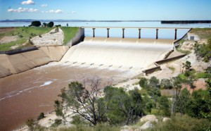 tflood22c tm22/208/17 Fairburn dam still flowing freely on Thursday, February 21